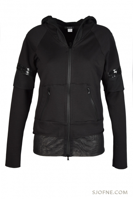 Czarna bluza z kapturem black hooded sweatshirt черный с капюшоном Sjofne.com